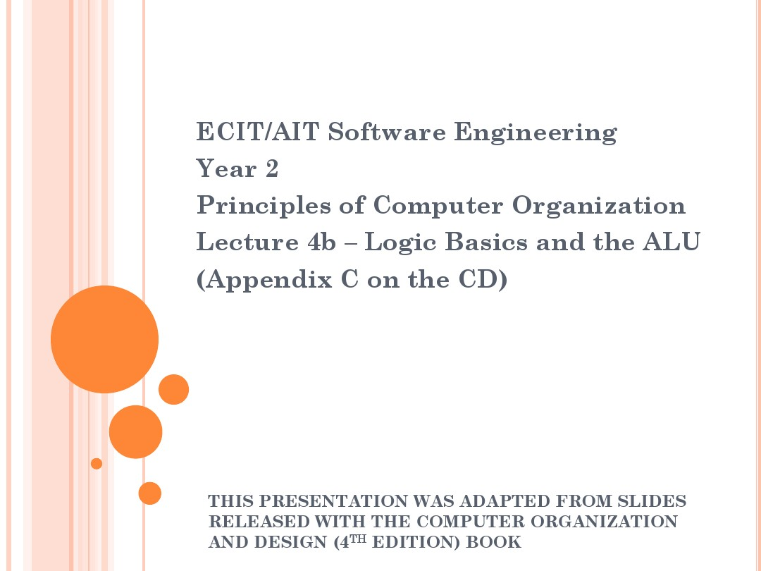 计算机组成原理computer Composition 4a Logic Bacics And The Alu 图文 百度文库