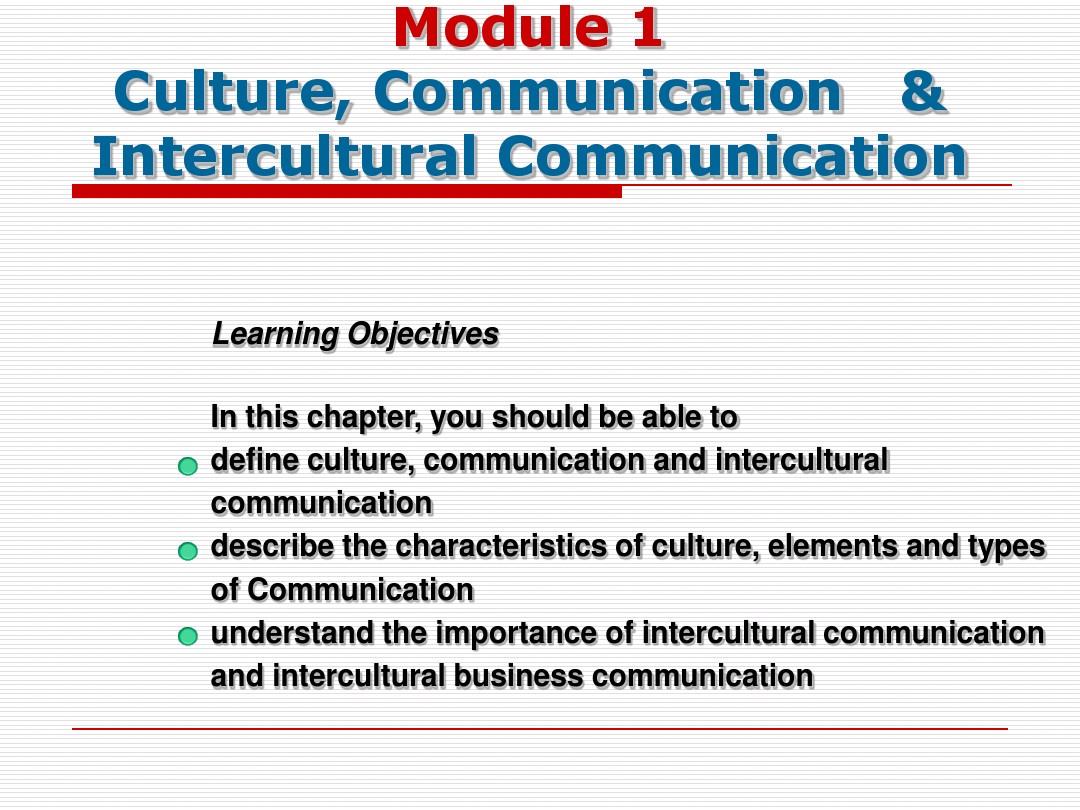 Module 1 Culture, Communication & Intercultural