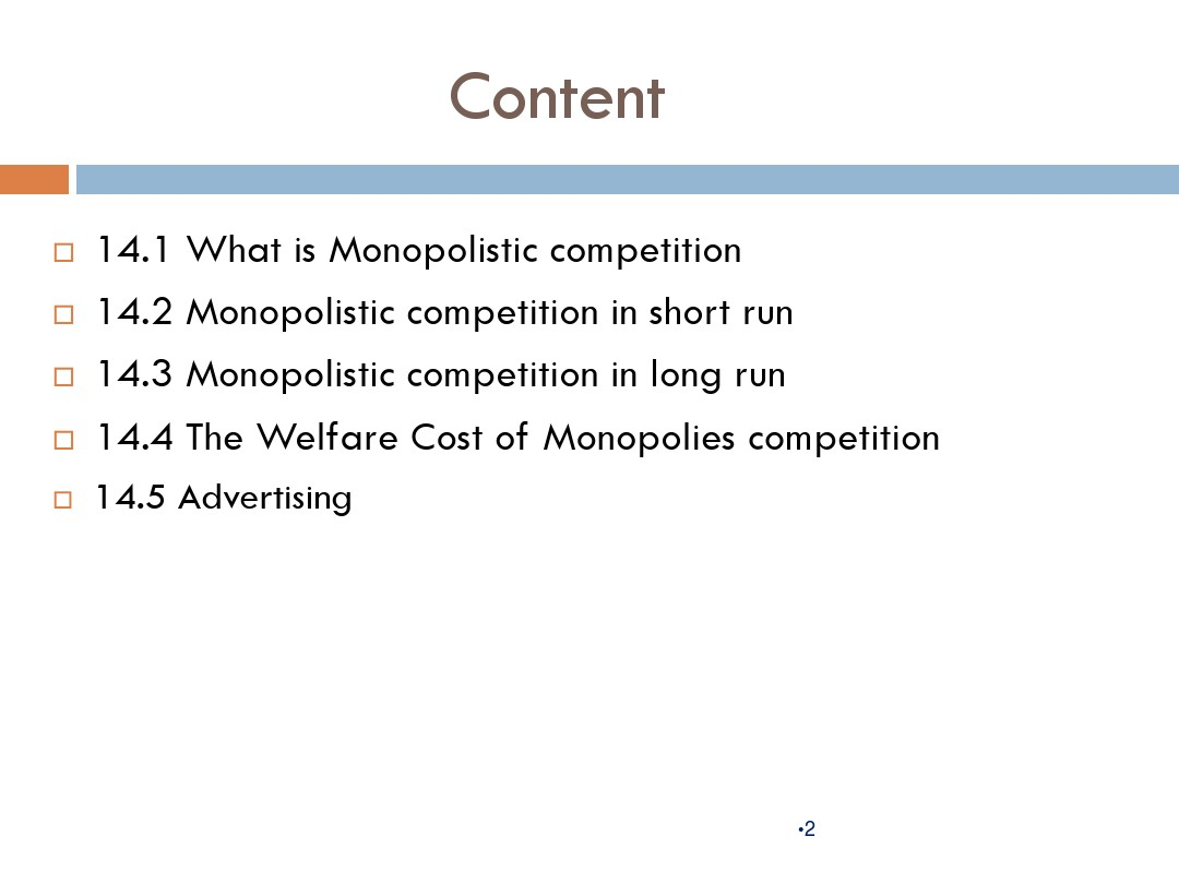 Chapter 14 Monopolistic Competition