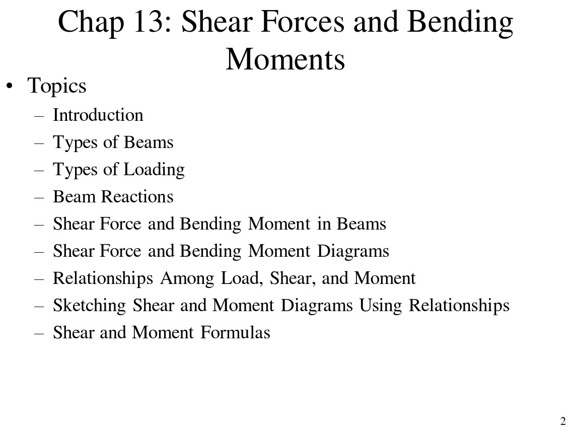 Chap 13shear Forces And Bending Moments In Beams Moment Diagrams