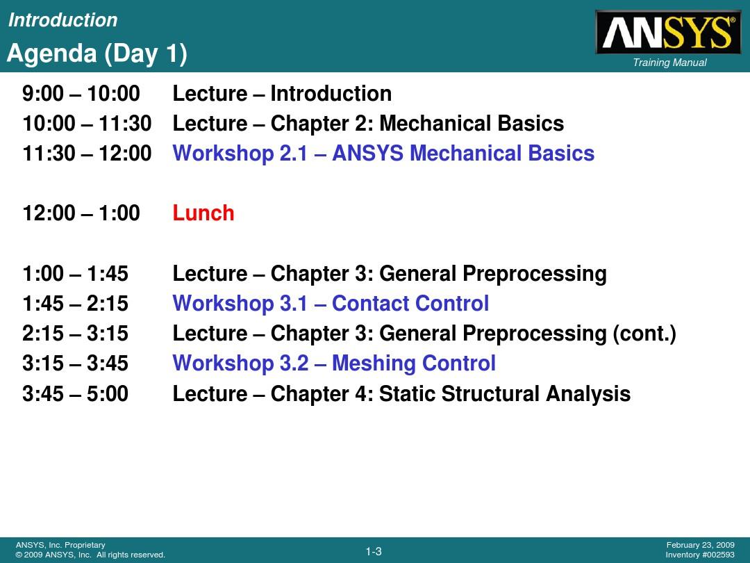 ansys 12 0 workbench training - WB-Mech_120_Ch01_Intro_图文_
