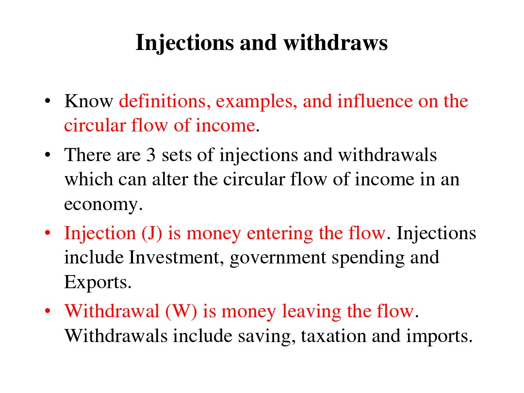 injections and withdrawals in the circular flow of income